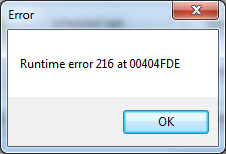 Runtime Error 216